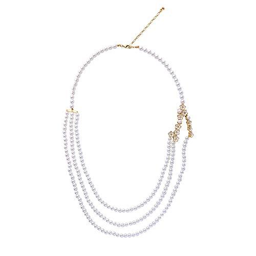 Udecoroption Faux Perlenkette, Damenmode Halskette Charm Halskette für Off The Shoulder Top, V-Ausschnitt T-Shirts, Geschenk für GF, Mutter, Tochter (Halloween Boardwalk Empire-kostüme)