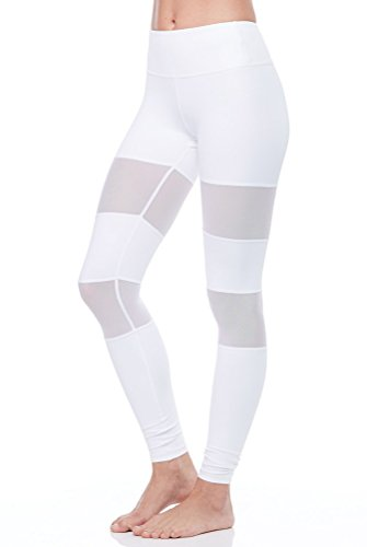 Yiiquan Femme Fitness Yoga Leggings Respirant Skinny Pantalon de Sport Collure pour Danse Jogging Blanc