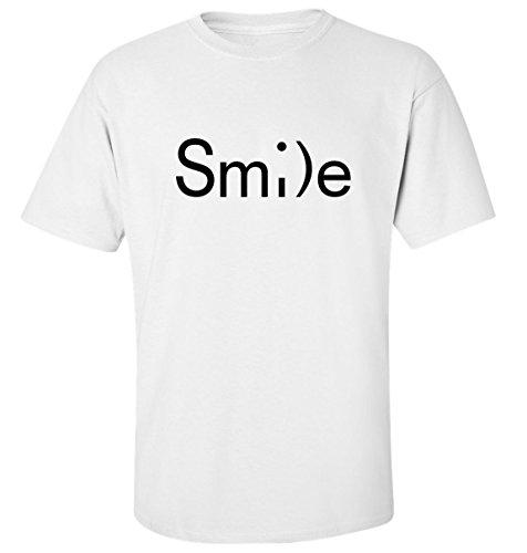 Smile drôle t-shirt homme blanc coton (M)