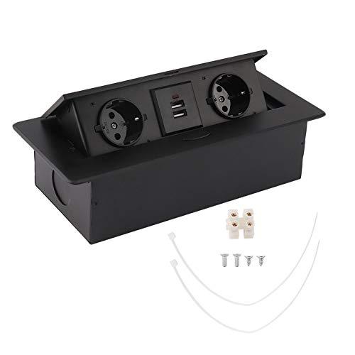 CremeBruluee Einsteckwerkzeug 2USB Konferenz schwarz Runde Seite des Schreibtischs Pop-Up des...