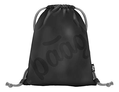 Baagl Turnbeutel für Junge, wasserdichte Schuhbeutel für Kinder, Schule und Kindergarten Sportbeutel, Sportrucksack, Gymsack (Logo Black)