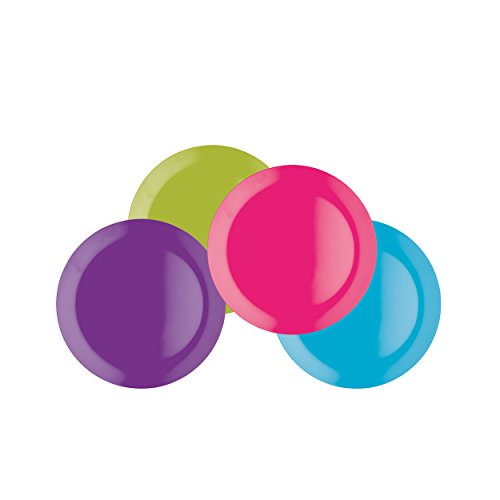 Colourworks Melamine Snack Plates, 23 cm, Multi-Colour, Set of Four