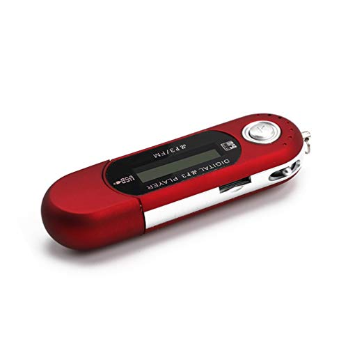GreatWall Lettore Musicale LCD Digitale MP3 Radio FM con Slot per schede TF Supporto Flash USB Rosso