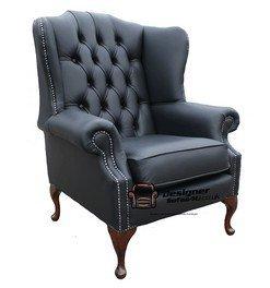 Designer Sofas4u Queen Anne Plat Chesterfield Mallory Aile Haute arrière Aile Chaise fabriqué au Royaume-Uni en Cuir Noir