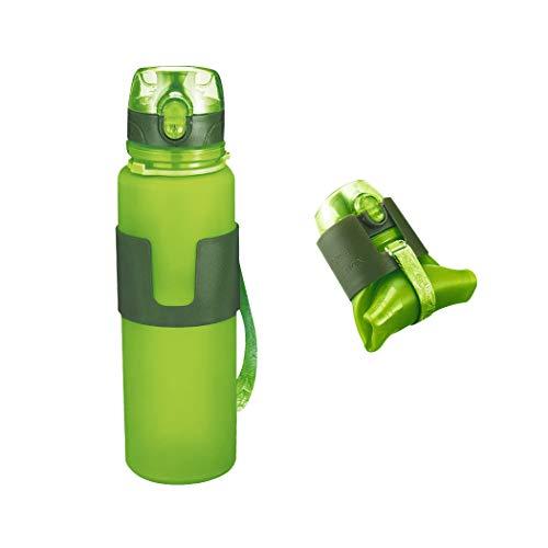 FLYDEER Faltbare Wasserflasche Zusammenklappbare Silikon Trinkflasche Nahrungsmittelgrad Silikon Sport Wasserflasche mit Auslaufsicherer Überwurfmutter, BPA Geben Frei 500ML (Grün)