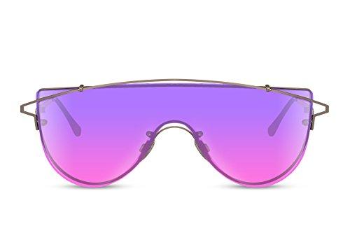 Cheapass Sonnenbrille XXL Gold-en Violett Verlaufsglas Groß-e Brille UV-400 Männer Frauen