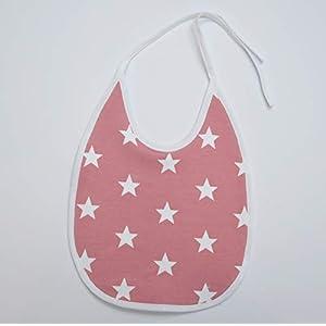 Baby Kind Essenslatz Lätzchen Bib Mädchen große Sterne rosa weiß 0-3 Jahre Frottee