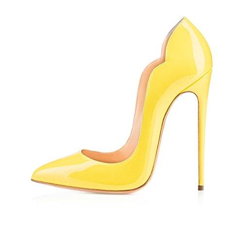 ELASHE - Femmes - Stiletto sexy - Classic talon haut- Cuir Vernis brillant synthétique - Talon aiguille 12CM - Grande Taille - Bout pointu fermé Jaune