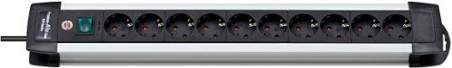Brennenstuhl Premium-Alu-Line, Steckdosenleiste 10-fach - Steckerleiste aus hochwertigem Aluminium (mit Schalter und 3m Kabel) Farbe: schwarz