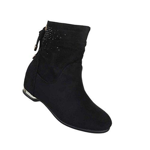Damen Boots Stiefeletten Schuhe Mit Strass Schwarz 36 37 38 39 40 41 Schwarz