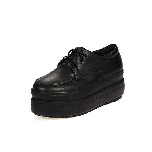 VogueZone009 Femme Lacet Fermeture D'Orteil Rond à Talon Correct Pu Cuir Couleur Unie Chaussures Légeres Noir