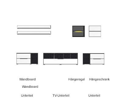 7-tlg Wohnwand in Eiche Nb./grau mit Akustik-Fächern und LED-Beleuchtung, Gesamtmaß B/H/T ca. 324/170/51 cm - 2