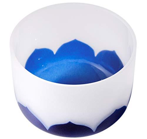 Kristall-Klangschalen dritten Auge, Chakra A Note höchste Qualität Quarz-Klangschalen mit Indigo-Lotus-Muster, O-Ring und Schlägel inklusive Yoga, Meditations-Heilwerkzeug 8 Inch indigo