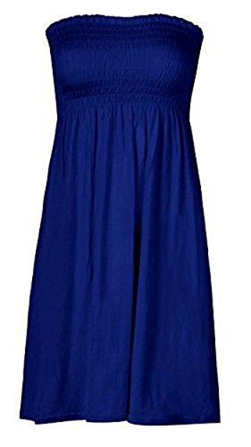 Mix lot de nouveaux tonte boobtube bandeau sans bretelles de femmes / haut sans manches dames lisses sexy robe de plage dété haut petit moyen, plus la taille des vêtements décontractés taille 36-50 Bleu royal