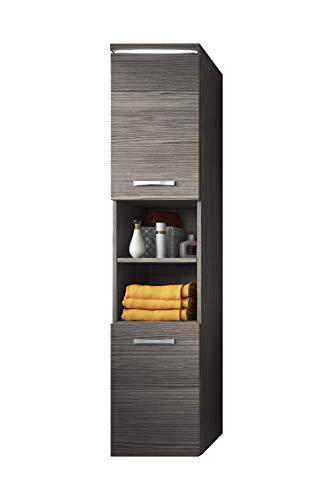 Badezimmer Schrank Paso 160 cm Bodega (Grau) - Regal Schrank Hochschrank Schrank Möbel
