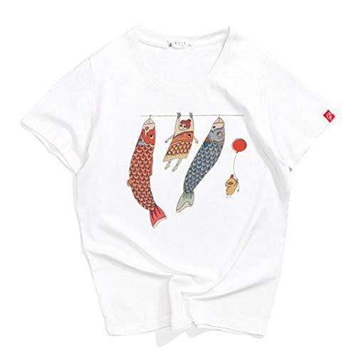 H.ZHOU Damen T-Shirt mit Rundhalsausschnitt 100{bb2724a740ee7447dd102cb195a208edc1b542ee80025a1de39b042a6e45784f} Baumwolle TY-038 Kurzarmshirt Top Print Shirt Casual Basic O-Neck T Shirts S-2XL Rosa, Weiß, Schwarz, Grau, Rot (Farbe : Weiß, größe : S)