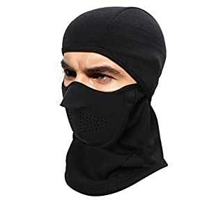 DIMJ Winter Balaclava, Lightweight Lycra Full face Face Mask Breathable Warm Protection for Ski, Motorcycle, Cycling, Running, Hiking, Black