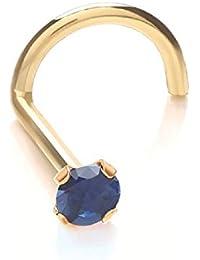 Nasen-Piercing Schmuck Stecker 375er Gelbgold, SWAROVSKI EDELSTEIN blauer Saphir