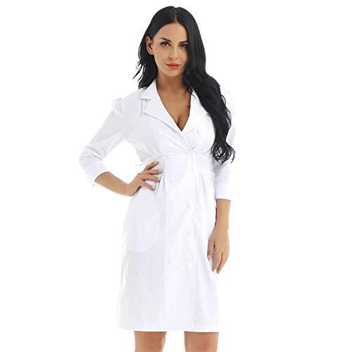 Frauen Erwachsene Lab Medizinische Dienste Mantel Arzt Kostüm Revers Kragen Knielangen Weiß Schlank Sexy Krankenschwester Uniform - Für Erwachsenen Ärzte Mantel Kostüm