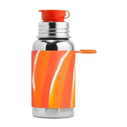 Pura Sport 18oz/550ml Edelstahl Wasser Flasche mit Silikon Sport Flip Cap & Ärmel (Kunststoff, ungiftig zertifiziert, frei von Bisphenol A), Orange Swirl