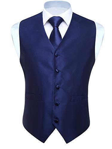 Hisdern Herren Einfarbig Jacquard Weste & Krawatte und Einstecktuch Weste Suit Set -