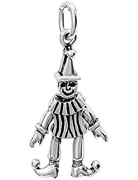 Clown beweglichen Charm Anhänger 925Sterling Silber Mobile