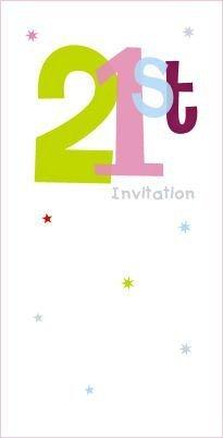 21ST compleanno inviti-confezione da 8bianco