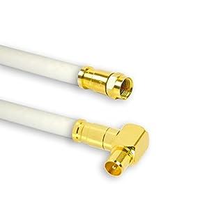 10m PremiumX TV Antennenkabel Digital Innenleiter REINES KUPFER mit vergoldeten Kompressionsstecker TV-GM1-90 (90° männlich) + XCon G1 F-Stecker | PREMIUM HDTV Kabel | Koaxialkabel | Koax Winkel Stecker zu F-Stecker