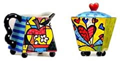 Idea Regalo - Romero Britto Giftcraft Set Vasetto Zucchero e Crema Cuore, Ceramica, Multi-Colour, Taglia Unica