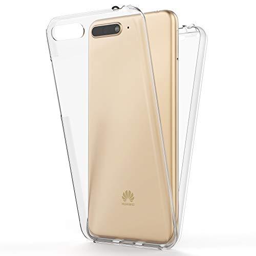 NALIA 360 Grad Handyhülle kompatibel mit Huawei Y6 2018, Full-Cover Silikon Bumper mit Bildschirmschutz vorne Hardcase hinten, Hülle Doppel-Schutz, Dünn Ganzkörper Case Handy-Tasche, Farbe:Transparent