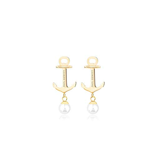 PAUL HEWITT Damen Ohrstecker Gold Anchor Pearl - Frauen Ohrringe vergoldet, Damen Ohrring Gold mit Perle (Weiß)