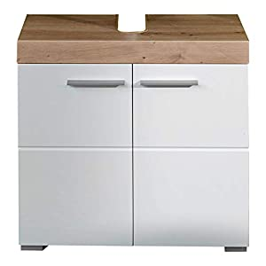trendteam Badezimmer Waschbeckenunterschrank Unterschrank Schrank Amanda, 60 x 56 x 34 cm in Asteiche / Weiß Hochglanz mit viel Stauraum