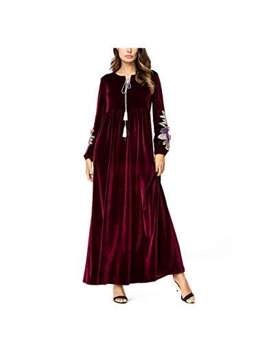 Botanmu Abiti Abaya Donna Islamico Maniche Lunghe Girocollo Abito Maxi Velluto Blu/Rosa/Verde/Rosso Vino (Rosso Vino, One Size)
