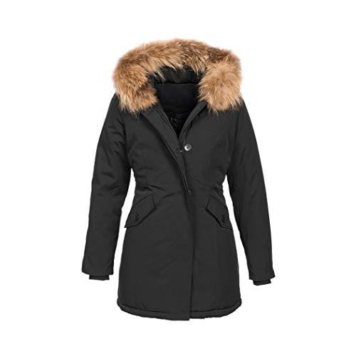 Elara Damen Winterparka | Jacke mit Echt Fell/Echt Pelz Kapuze | Designer Winterjacke | Chunkyrayan 6015 Black 42/XL