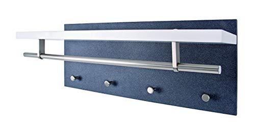 HAKU Möbel 42517 Wandgarderobe Stahl, MDF, weiß / granitoptik / edelstahloptik, 26 x 75 x 30 cm