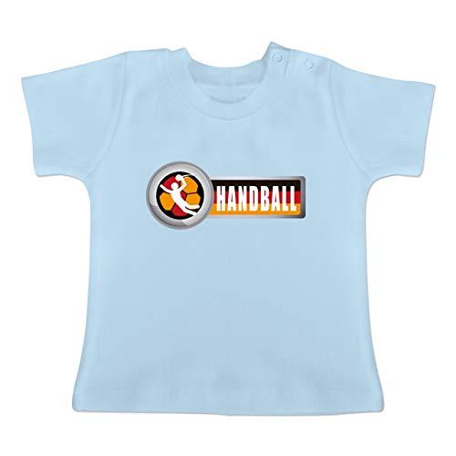 Handball WM 2019 Baby - Handball Deutschland 2-1-3 Monate - Babyblau - BZ02 - Baby T-Shirt Kurzarm