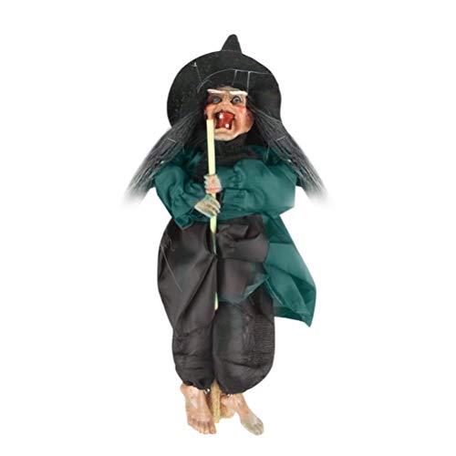 Amosfun Hängende Hexe auf Besen Halloween Dekorationen blinkende Augen gruselige Sounds (grün)