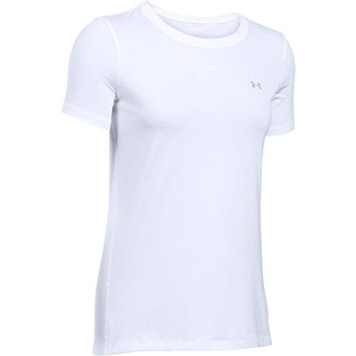 Under Armour, Ua Hg Armour Ss, Maglietta A Maniche Corte, Donna, Bianco (White/Metallic Silver 100), S