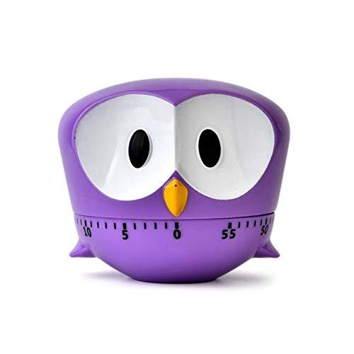 Xiton 1 StüCk Niedlichen Cartoon Owl Timer Mini 60 Minuten Mechanische KüChe Kochen Timer Uhr Laut Alarm ZäHler Manuelle KüChe Timer (Lila) -