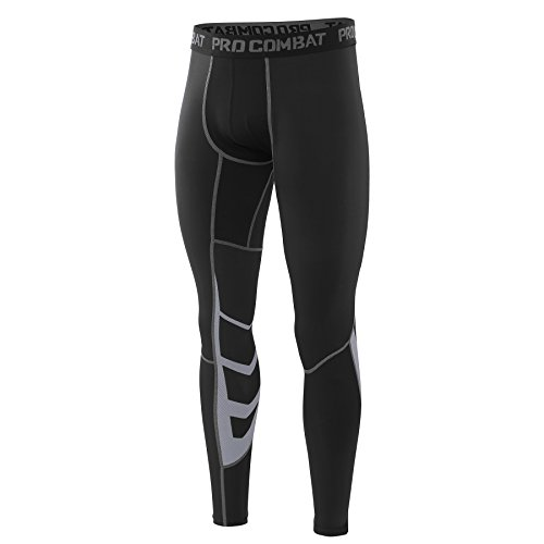 AMZSPORT Herren Fitness Hose Pro Cool Compression Tights Funktionswäsche Pants, Schwarz, L -