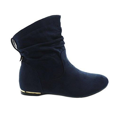 Damen Stiefeletten Cowboy Western Stiefel Boots Flache Schlupfstiefel Schuhe 71 (39, Blau)