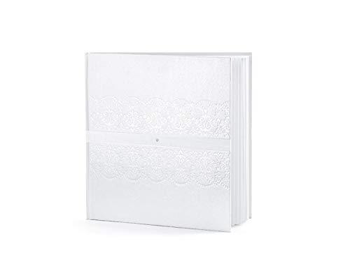 Gästebuch Hochzeit Hochzeitsgästebuch Hochzeitsalbum in perlweiß mit Perlen-Ornament + Chiffonband und Zirkonia. Von Haus der Herzen ® -