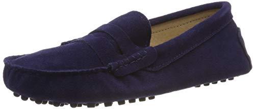 Jamron Damen Klassisch Wildleder Penny Loafers Gemütlich Handgefertigt Mokassins Slippers Marineblau 24208 EU39 (Mokassins Slipper)