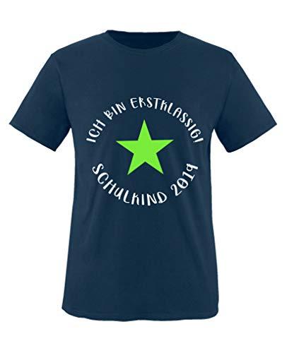 bin erstklassig! Schulkind 2019 - Jungen T-Shirt - Navy/Weiss-Neongrün Gr. 122/128 ()