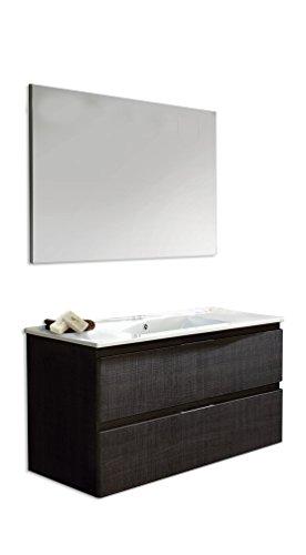 Platos de ducha y mamparas Conjunto Naima_PdM_ Mueble + encimera cerámica + Espejo Liso (Roble Sinatra, 100cm)