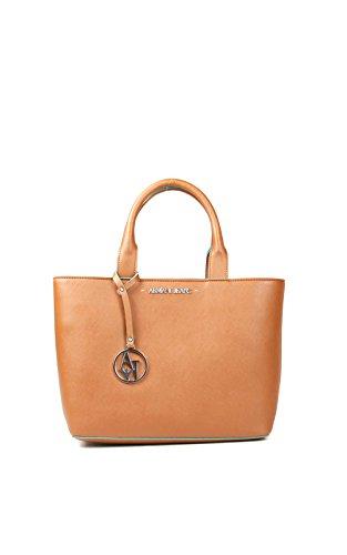 ARMANI JEANS Borsa shopping piccola a mano in saffiano COGNAC 922531CC856 0151