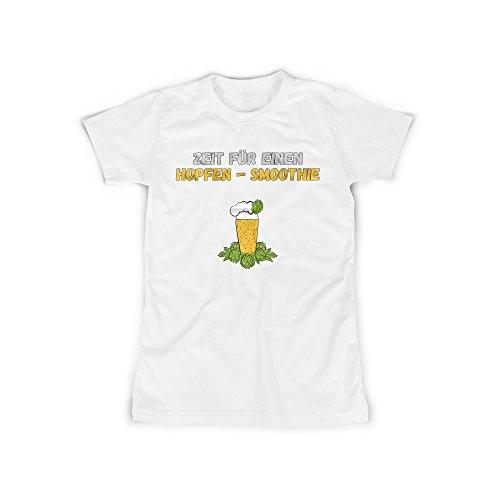 Frauen T-Shirt mit Aufdruck in Weiß Gr. XXL Zeit Für Hopfen Bier Design Girl Top Mädchen Shirt Damen Basic 100% Baumwolle Kurzarm (Liebe Bier T-shirt Girls)