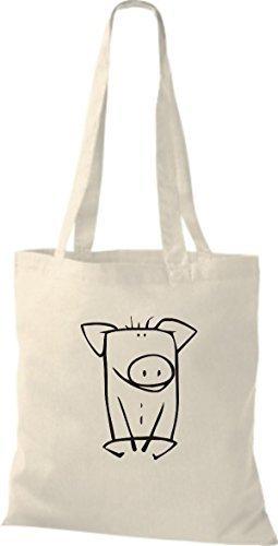 ShirtInStyle Stoffbeutel Baumwolltasche Lustige Tiere Schwein Farbe Pink natur