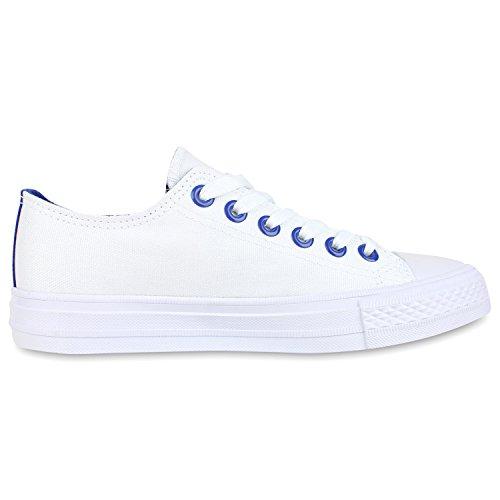 Trendige Unisex Sneakers | Low-Cut Modell | Basic Freizeit Schuhe | Viele Farben | Gr. 36-45 Weiss Blau
