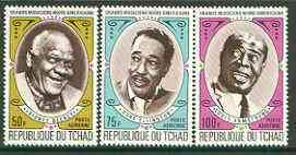 Chad 1971 American Black jazz Musicians (Bechet, Armstrong & Ellington) set of 3 u/m, SG 341-43* MUSIC JAZZ PERSONALITIES MASONICS MASONRY JandRStamps -